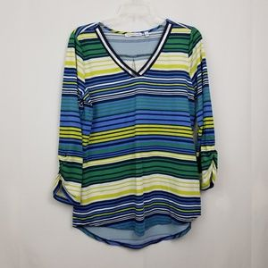 Notations Women's Blue Green Yellow Striped Top